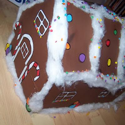 Weihnachtsgeschenk: Verpackung als Lebkuchenhaus